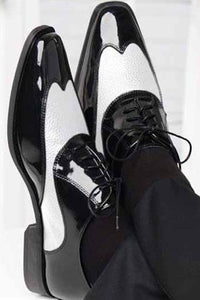 """Manhattan"" Black and White Frederico Leone Tuxedo Shoes"