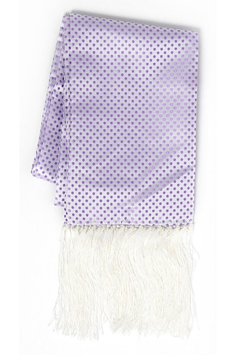 Lavender & White Polka Dot Formal Evening Scarf