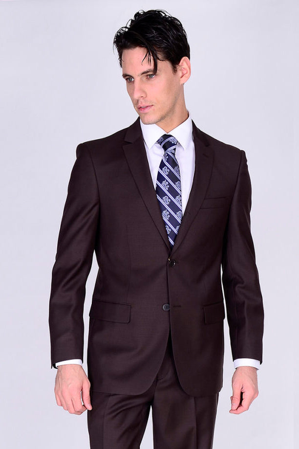 Mantoni Solid Brown Suit