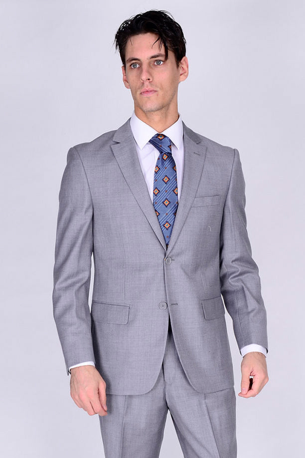 Mantoni Solid Light Grey Suit