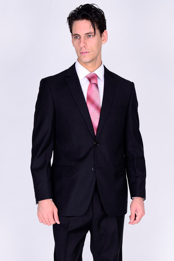 Mantoni Solid Black Suit