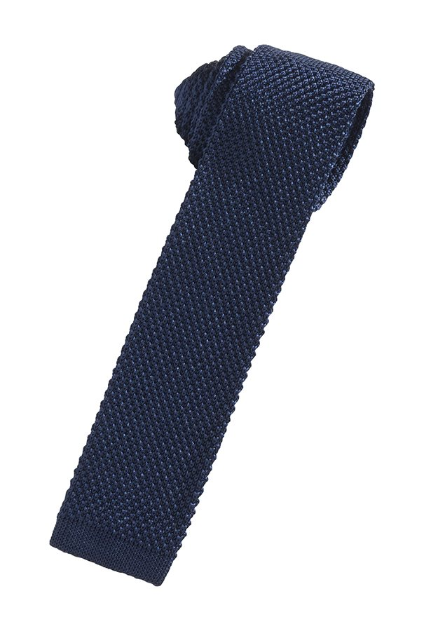 Navy Silk Knit Necktie