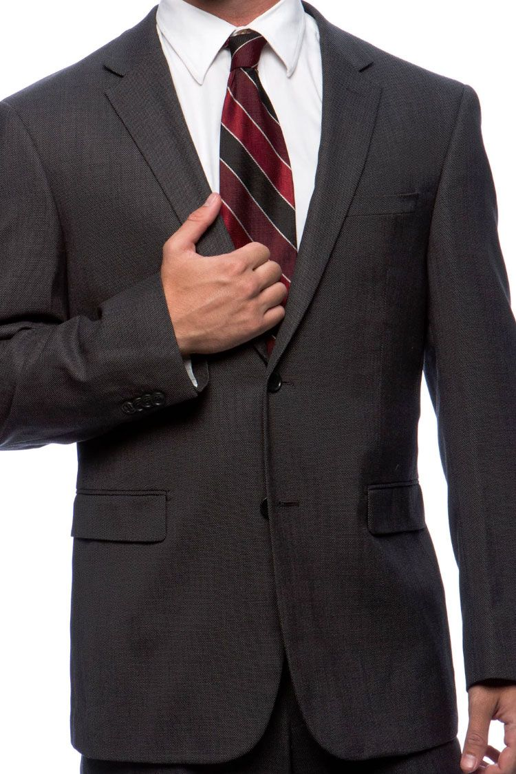 Prontomoda Birdseye Charcoal Suit