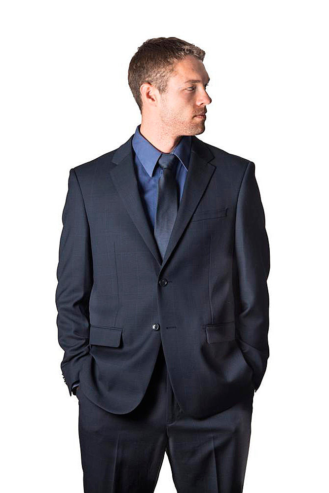 Prontomoda Glen Plaid Navy Suit