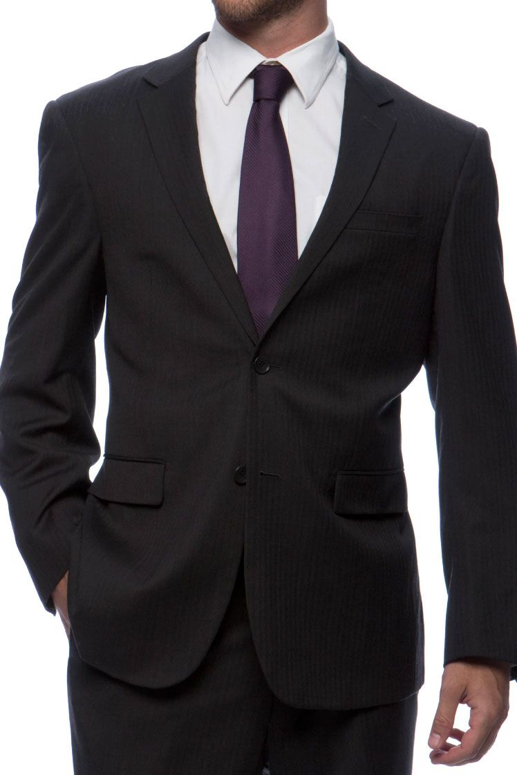 Prontomoda Herringbone Black Suit
