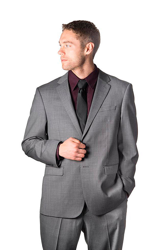 Prontomoda Sharkskin Medium Grey Suit