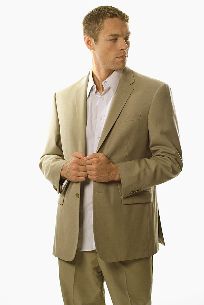 Prontomoda Solid Tan Suit