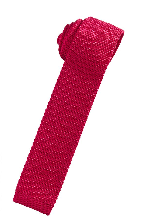 Red Silk Knit Necktie