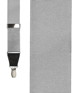 """Silver Grosgraine Ribbon"" Suspenders"