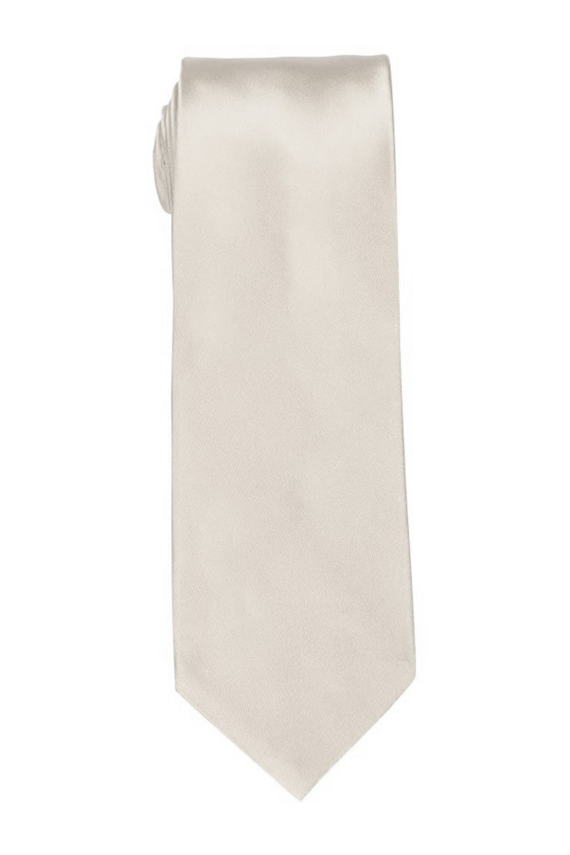Solid Off-White Satin Tie