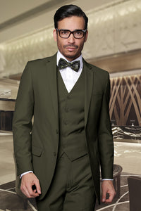 "Statement ""Lorenzo"" Solid Olive 3-Piece Slim Fit Suit"