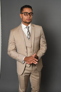 "Statement ""Lorenzo 1"" Solid Tan 3-Piece Slim Fit Suit"