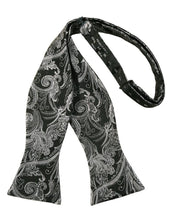 Load image into Gallery viewer, Silver Paisley Silk Bow Tie