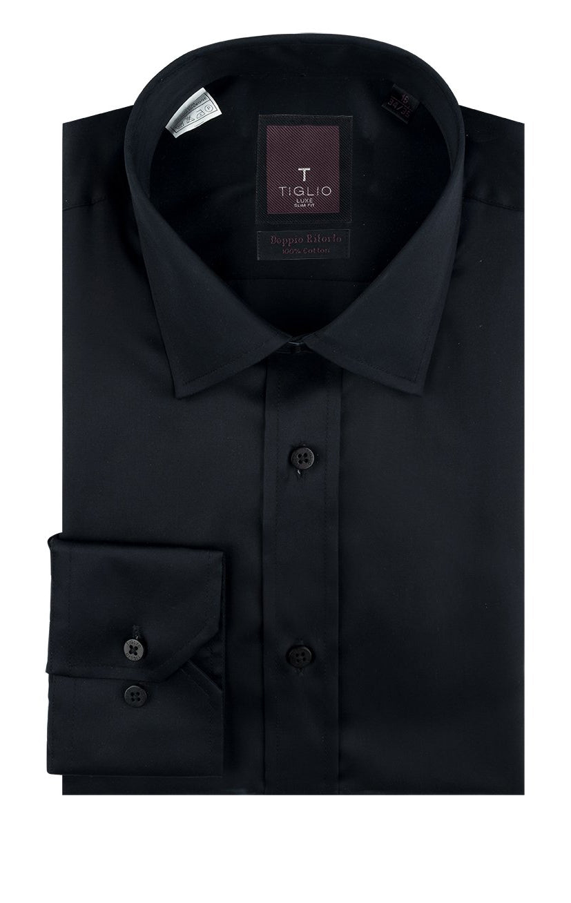 Tiglio Black Barrel Cuff Slim Fit Shirt