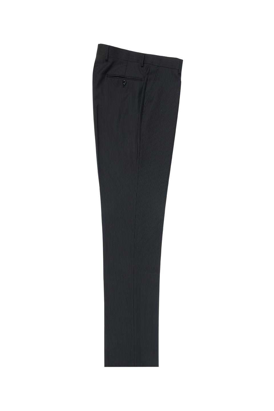Tiglio Black Mini-Stripe Flat Front Dress Pants