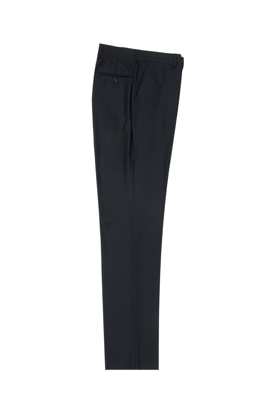 Tiglio Black Solid Flat Front Dress Pants