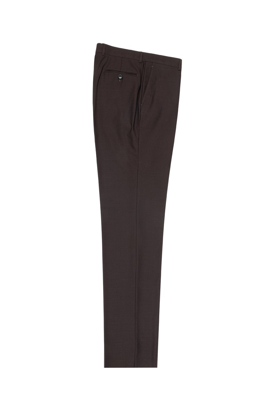 Tiglio Brown Solid Flat Front Dress Pants