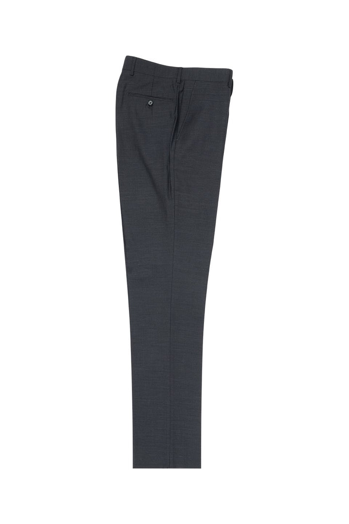 Tiglio Charcoal Grey Solid Flat Front Slim Fit Dress Pants