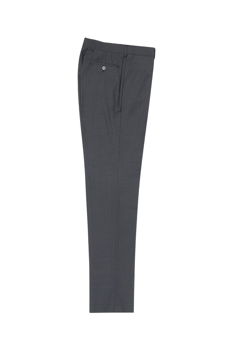 Tiglio Grey Solid Flat Front Slim Fit Dress Pants