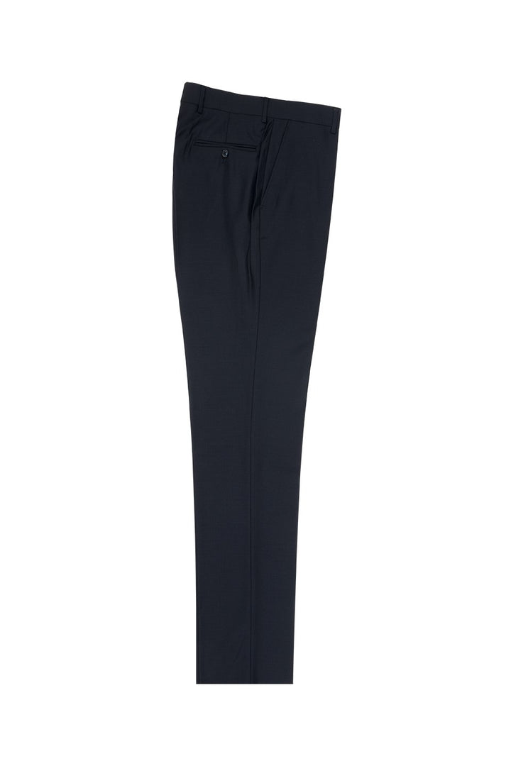 Tiglio Navy Solid Flat Front Dress Pants