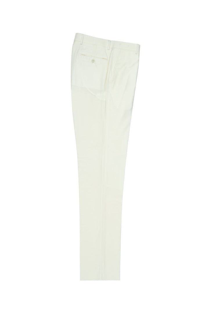 Tiglio Off-White Solid Flat Front Dress Pants
