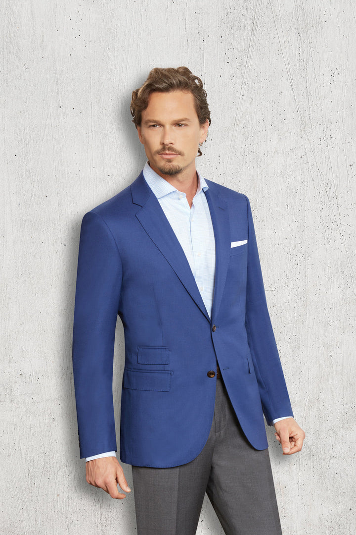 Trend French Blue Blazer With Brown Buttons