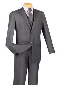 "Vinci ""Carmelo"" Heather Grey Slim Fit 3-Piece Suit"