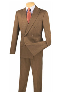 "Vinci ""Dante"" Taupe Herringbone Double-Breasted Slim Fit Suit"