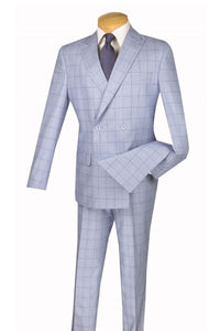 "Vinci ""Eduardo"" Blue Windowpane Double-Breasted Slim Fit Suit"