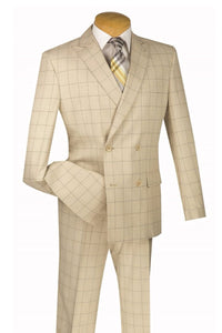 "Vinci ""Eduardo"" Tan Windowpane Double-Breasted Slim Fit Suit"