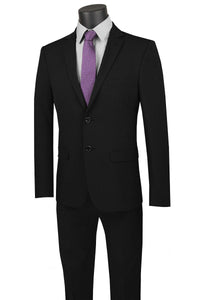 "Vinci ""Gio"" Black Stretch Wool Ultra Slim Fit Suit"