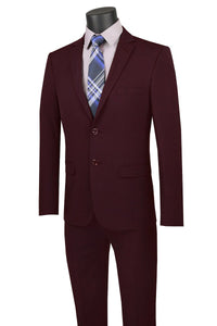 "Vinci ""Gio"" Burgundy Stretch Wool Ultra Slim Fit Suit"