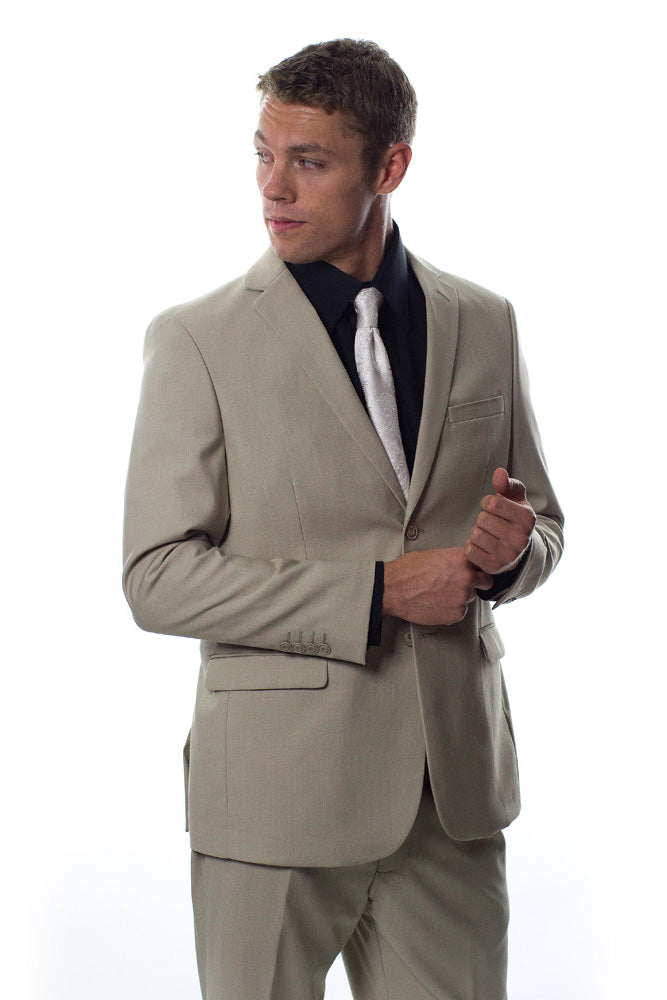 West End Solid Beige Suit