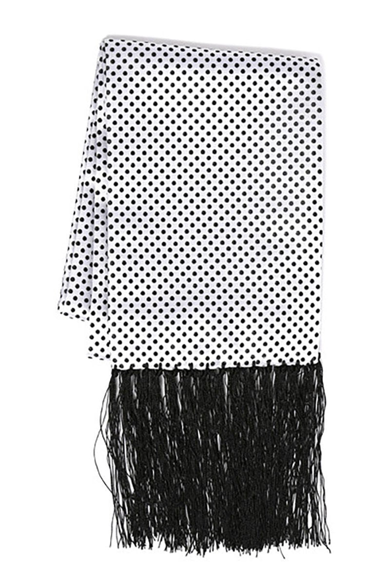 White & Black Polka Dot Formal Evening Scarf