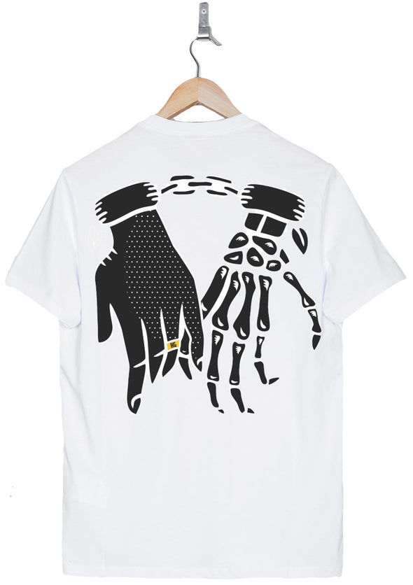 Chained Love back print white tee