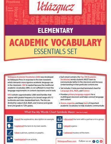 Velázquezz Elementary Academic Vocabulary Essential Set - Hebrew