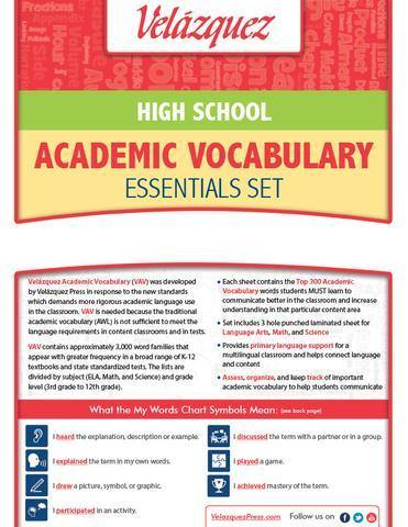 Velázquez High School Academic Vocabulary Common Core Essential Set - Romanian