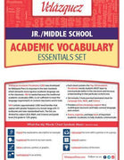 Velázquez Jr./Middle School Academic Vocabulary Common Core Essential Set - Chinese-Simplified