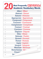 20 Most Frequently Confused Academic Vocabulary Words Poster