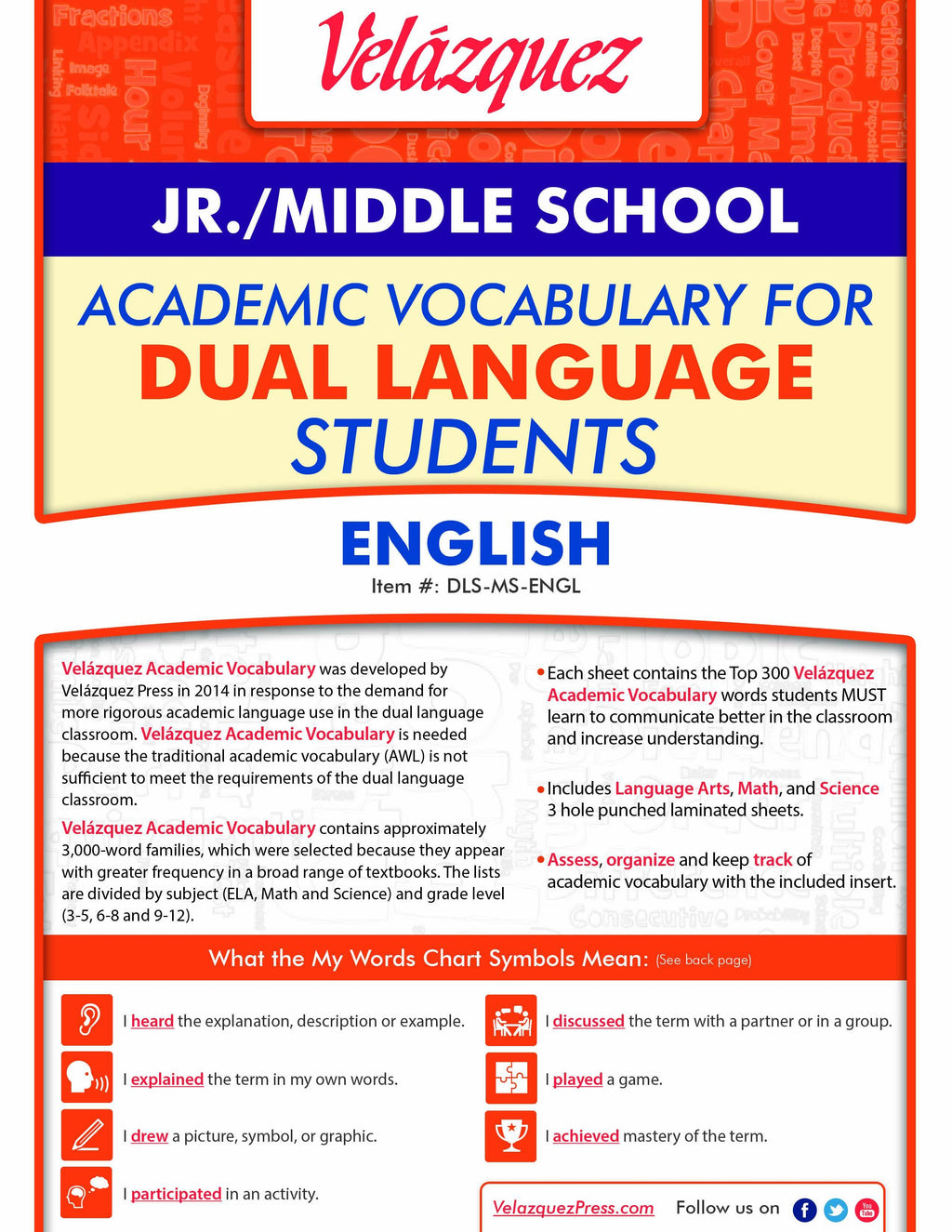Velázquez Academic Vocabulary for Dual Language Students - Jr./Middle School (English)