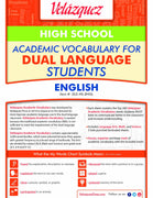 Velázquez Academic Vocabulary for Dual Language Students - High School (English)
