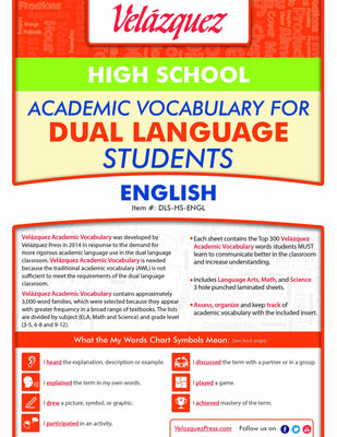 Velázquez Academic Vocabulary for Dual Language Students - High School (English) - Velàzquez Press | Biliteracy