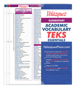Velázquez Elementary Academic Vocabulary TEKS Essential Set - Telugu
