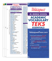 Velázquez Jr./Middle School Academic Vocabulary TEKS Essential Set - Telugu