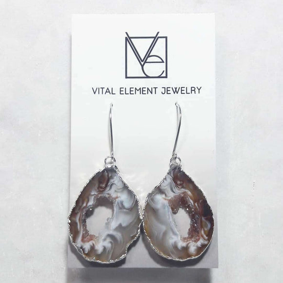 Gilded Occo Geode Slice earrings :: #EOES110