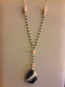 Rosary and Chain V-Style Necklace with Gold Bezel Black Sardonyx