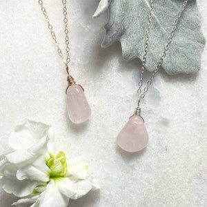 #RQG2 and #RQS5 - Rose Quartz Nuggets on Gold Filled and Sterling Silver 16 inch chain options  |  The Vital Element