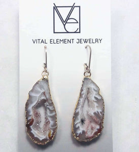 Gilded Occo Geode Slice earrings :: #EOEG114