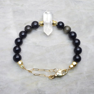 Premium Adjustable Beaded Bracelet with Quartz and Obsidian