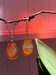 Premium Carnelian Drops in Gold Filled or Silver